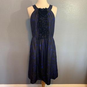 J.Crew Collection Blue Silk Rosette Ruffles Dress